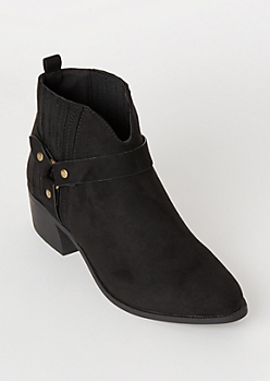 Black Vented Ring Buckle Faux Suede Booties