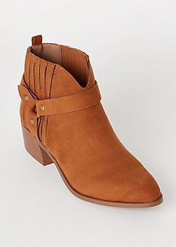 Cognac Vented Ring Buckle Faux Suede Booties