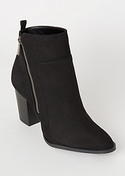 Black Perforated Side Zip Booties