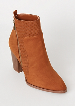 Cognac Perforated Side Zip Booties