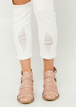 Light Pink Double Buckle Booties