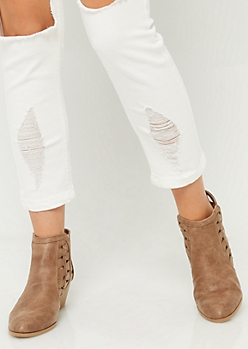 Taupe Triangle Cut Booties