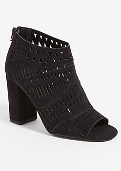 Black Geo Perforated Booties