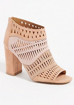Light Pink Geo Perforated Booties