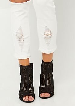Black Perforated Peep Toe Booties