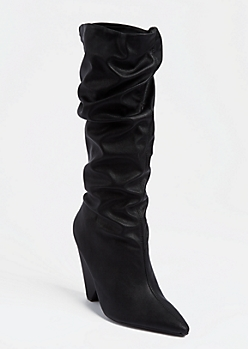 Black Cone Heel Scrunched Boots