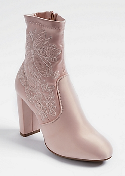 Pink Floral Embroidered Sateen Booties
