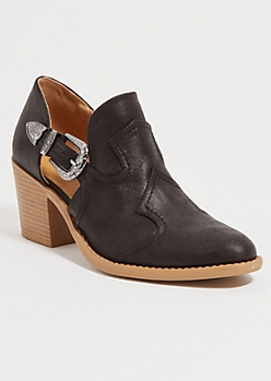 Black Buckled Low Western Booties