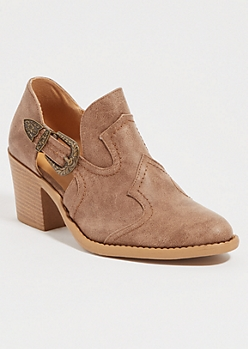 Taupe Buckled Low Western Booties