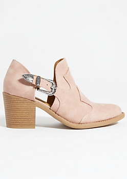 Light Pink Buckled Low Western Booties