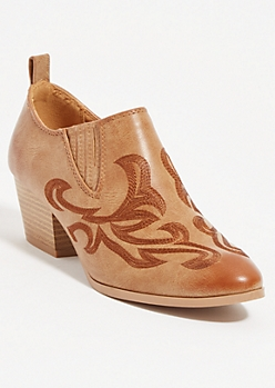 Camel Low Cowboy Booties