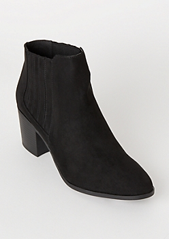 Black Vented Gore Faux Suede Booties