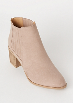 Taupe Vented Gore Faux Suede Booties