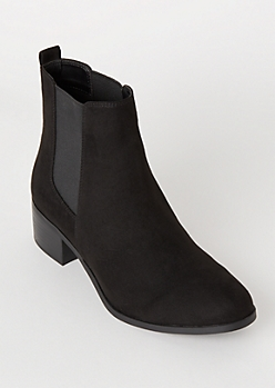 Black Faux Suede Side Gore Booties