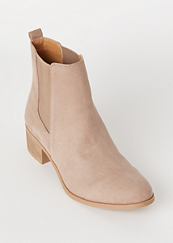 Taupe Faux Suede Side Gore Booties