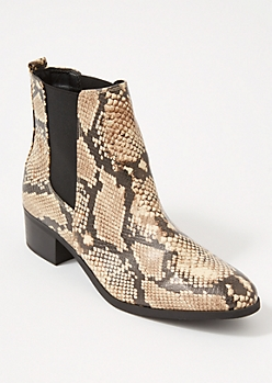 Snakeskin Print Side Gore Booties
