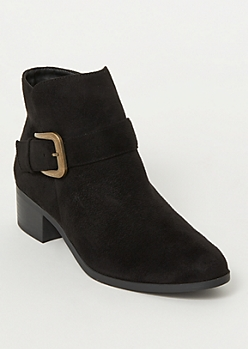 Black Faux Suede Side Buckle Booties