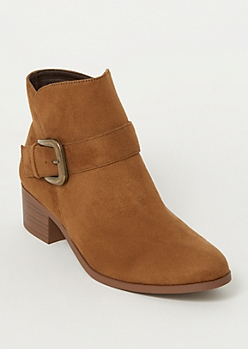 Brown Faux Suede Side Buckle Booties