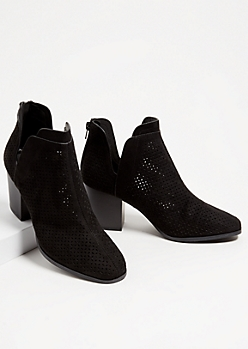 Black Perforated Side Slit Booties