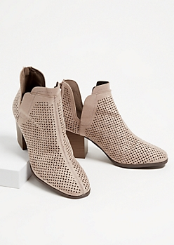 Taupe Perforated Side Slit Booties