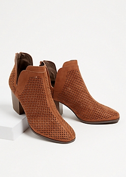 Brown Perforated Side Slit Booties