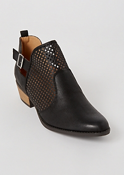 Black Perforated Buckled Low Booties