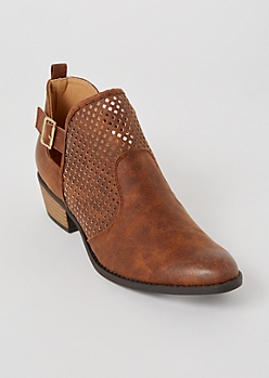 Brown Perforated Buckled Low Booties