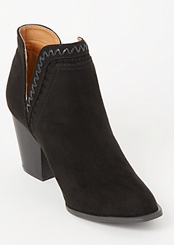 Black Whip Stitched V Cut Ankle Booties