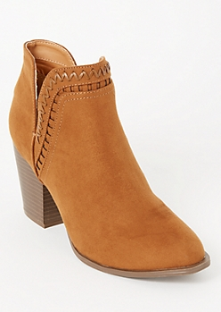 Cognac Whip Stitched V Cut Ankle Booties