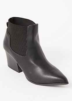 Black Side Gore Pointed Toe Booties