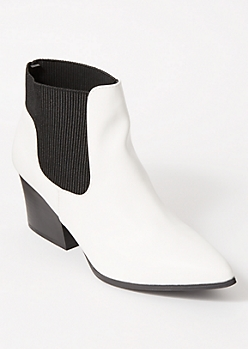 White Side Gore Pointed Toe Booties
