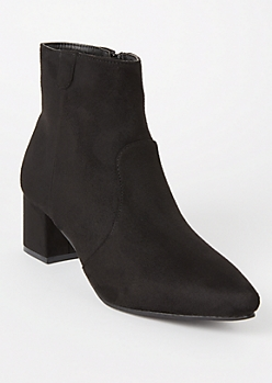 Black Faux Suede Pointed Toe Booties