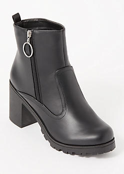 Black O Ring Side Zip Lug Booties