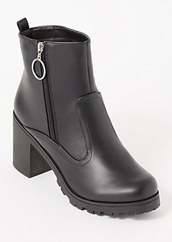 Black O Ring Side Zip Lug Booties
