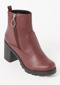 Burgundy O Ring Side Zip Lug Booties