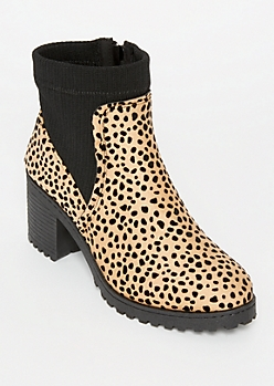 Cheetah Print Sock Top Booties