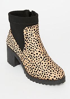 Cheetah Print Sock Top Booties