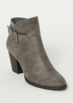 Gray Buckle Heeled Booties