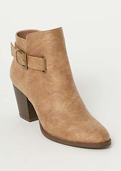 Tan Buckle Heeled Booties