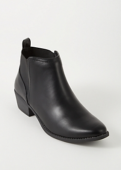 Black Faux Leather Low Heel Gore Booties