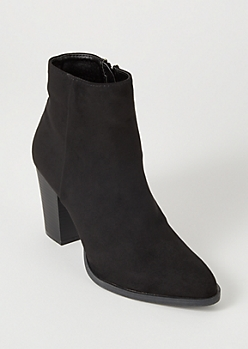 Black Faux Suede Heeled Booties
