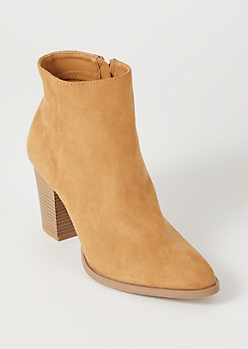 Camel Faux Suede Heeled Booties