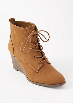 Brown Lace Up Wedge Booties
