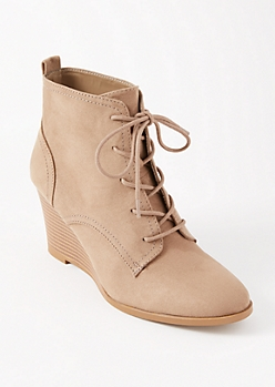 Taupe Lace Up Wedge Booties