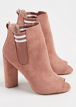 Pink Faux Suede Double Gore Peep Toe Booties