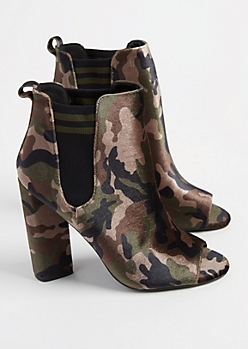 Camo Faux Velvet Double Gore Peep Toe Booties
