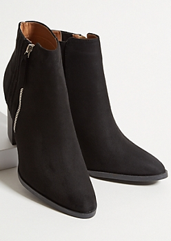 Black Faux Suede Side Stitch Heeled Booties