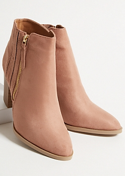 Pink Faux Suede Side Stitch Heeled Booties
