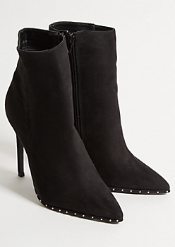 Black Faux Suede Studded Pointed Stiletto Booties
