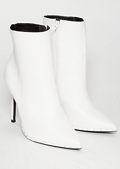 White Faux Leather Studded Pointed Stiletto Booties